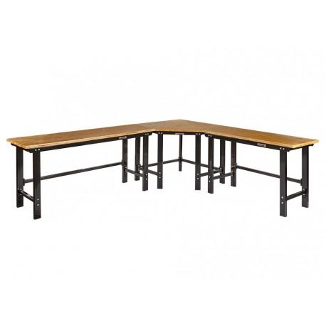 Werkbank hoekopstelling - Hoek werkbank 310 cm x 260 cm zwart met hardhouten blad